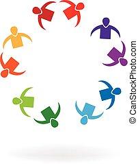 Couples teamwork people logo