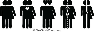 Couples together - Stick figures, vector symbols for...