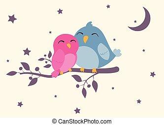 couples, uccelli, seduta