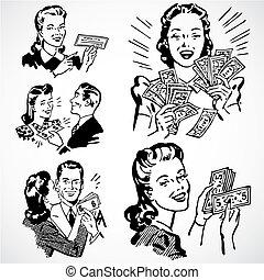 couples, vendemmia, vettore, soldi