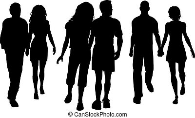 Couples walking - Silhouettes of couples walking
