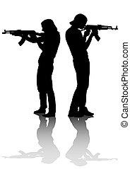 Couples whit gun - Soldier in uniform with gun on white...