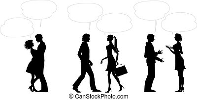 Couples with dialogue balloons