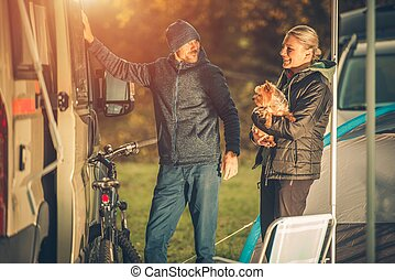 Couples with Dog Camping