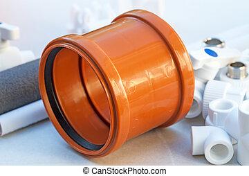 Orange plastic clutch for external sewerage