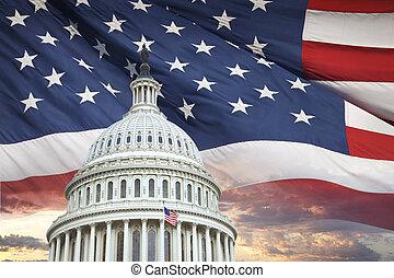 coupole capitole, nous, américain, ciel, derrière, drapeau, dramatique