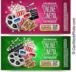 coupon., 贈り物, 金, 映画館, 無料で, フライヤ