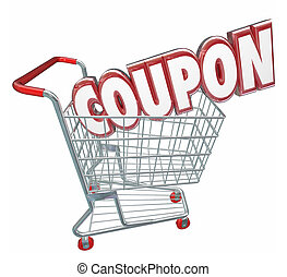 Coupon 3d Word Shopping Cart Spending Less Saving Sale -...