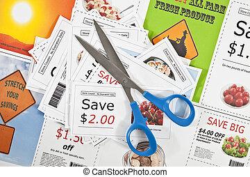 coupon, bons, fond, scissors., faux