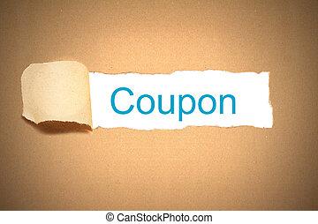 coupon, brauner, zerrissenen papier, enthüllen