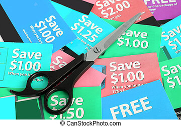 coupon clipping - Cutting coupons in different colors, and...
