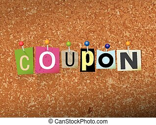 Coupon Concept Pinned Letters Illustration