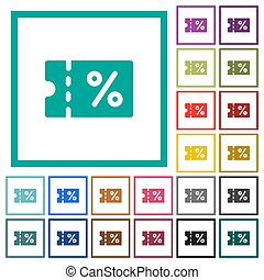 Coupon flat color icons with quadrant frames on white...