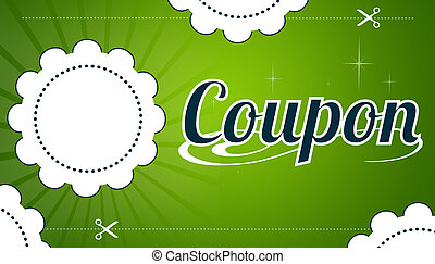 Coupon - High resolution promotional coupon on green...