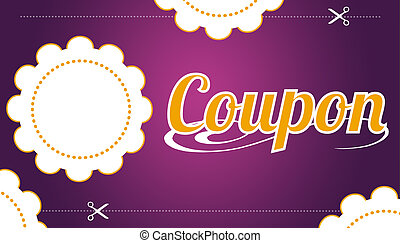 High resolution promotional coupon on purple background.