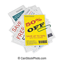 coupon, papier, clippings, agrafe, faux
