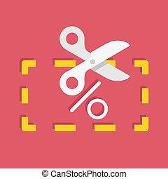 coupon, rabatt, vektor, ikone