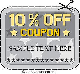 Coupon sale - 10%. (ten percent discount, discount label)