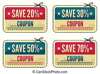 coupon, sammlung, verkauf