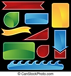 coupon shape set color - set of blank web icons.