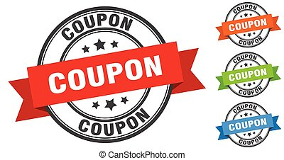 coupon stamp. round band sign set. label