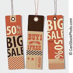coupon, style, vendange, coût, vente, voucher., conception, gabarit, v, étiquette