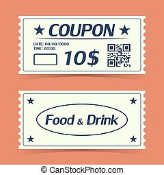 Coupon ticket card. Element template for design. Vector illustration