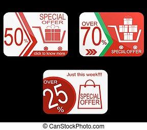 coupon, vente, bon, vecteur, gabarit, tag., design.