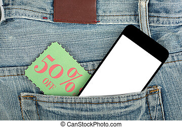 Coupon voucher paper inside pocket  jean.