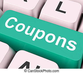 Coupons Key Means Voucher Or Slip - Coupons Key On Keyboard ...