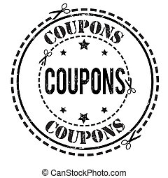 Coupons stamp - Coupons grunge rubber stamp on white, vector...