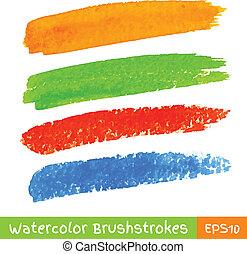 coups, aquarelle, ensemble, brosse, coloré