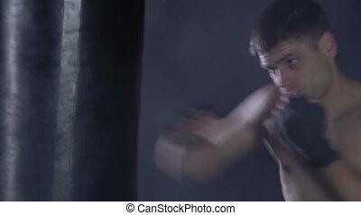 coups, boxeur, poire, boxe