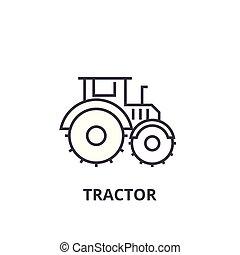 coups, editable, illustration, signe, vecteur, tracteur, icône, ligne, fond