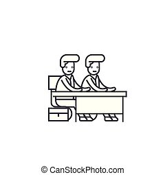 coups, editable, signe, illustration, deux, étudiants, vecteur, bureau, icône, ligne, fond
