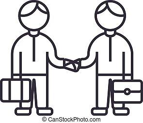 coups, fonctionnement, illustration, ensemble, poignée main, vecteur, editable, signe, ligne, fond, icône, association