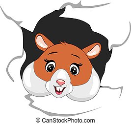 coups oeil, papier, heureux, hamster, par, déchiré