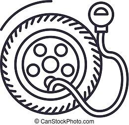 coups, pneu, illustration, pression, pompe, vecteur, editable, signe, ligne, service, fond, icône