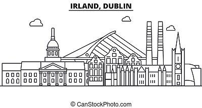 coups, vues, conception, cityscape, paysage, vecteur, horizon, ville, linéaire, editable, icons., repères, dublin, ligne, irland, architecture, illustration., célèbre, wtih