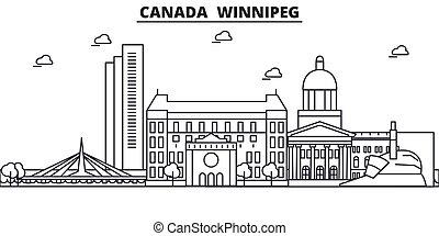 coups, vues, conception, winnipeg, cityscape, paysage, vecteur, horizon, ville, canada, linéaire, editable, icons., repères, ligne, architecture, illustration., célèbre, wtih