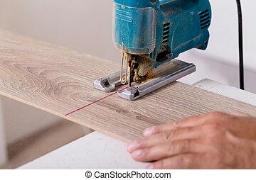 coupure, électrique, plancher, laminate, charpentier, jigsaw., installation, planche, parquet, flooring.