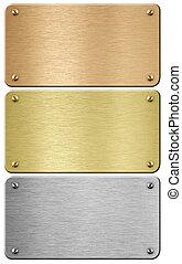 coupure, acier, or, métal, illustration, included, sentier, plaques, bronze, 3d