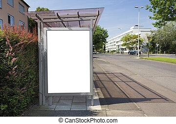 coupure, affiche, arrêt autobus, blanc, panneau affichage, sentier, ou, blank., inc