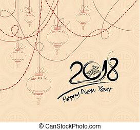 coupure, art, chinois, symbole, chien, papier, année, 2018., zodiaque, calligraphie