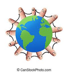 coupure, autour de, gens, isolé, tenue, mondiale, mains