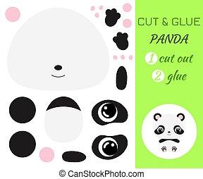 coupure, bébé, pédagogique, préscolaire, panda., séance, children., papier, jeu, colle