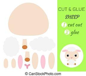 coupure, bébé, pédagogique, préscolaire, sheep., séance, children., papier, jeu, colle