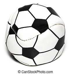 coupure, balle, cuir, isolé, sentier, blanc, football