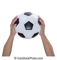 coupure, balle, isolé, fond, mains, sentier, blanc, football
