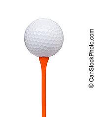 coupure, balle, tee golf, isolé, sentier